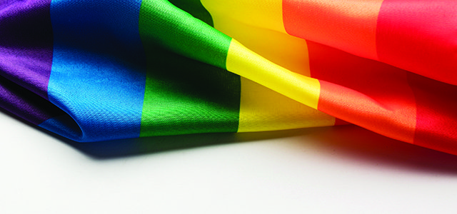 Gay pride rainbow flag on a plain background