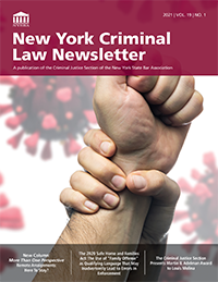 NY Criminal Law Newsletter 2021 vol 19 no 1_cover200W