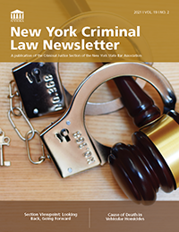 NYCriminalLawNewsletter2021vol19no2Cover200W